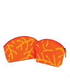 Orange Kelp Cosmetic Bag Set by rockflowerpaper on #zulily today!   TOO CUTE