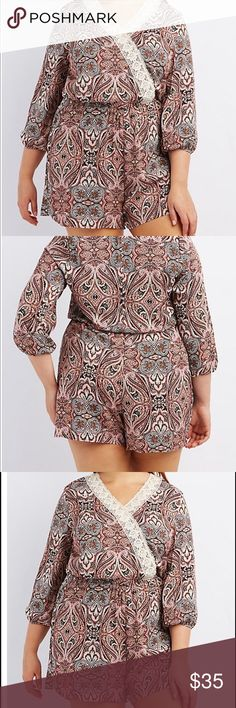 """Plus size printed romper Sz 3X Lightweight, woven fabric flaunts a stunning paisley print on this dreamy romper! Crochet trims V-neckline, and highlights surplice front below. Long sleeves flow to elastic cuffs! Zipper closure at back. Missing tags . Rayon .  Product Fit: Model is wearing size 1X. Size 1X measures 34"""" from top to hem. Pants Jumpsuits & Rompers"""