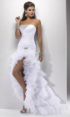 White/Ivory High Low Wedding Dress Bridal Gown Custom Size 4-6-8-10-12-14-16-18+
