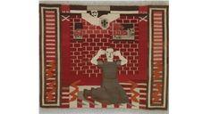 "HANNAH RYGGEN. VERDEN I VEVEN. NASJONALMUSEET. / absolutetapestry.com Hannah Ryggen. ""Gru"". Fra borgerkrigen i Spania. 1936."