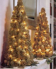 Beautiful DIY Christmas decoration crafting ideas with pine cones! DIY Christmas Decor Crafting ideas with Pinecone Christmas TreeJust pine cones and lightsThe Christmas celebrations include various traditional symbols . Pine Cone Christmas Tree, Tabletop Christmas Tree, Rustic Christmas, Christmas Holidays, Pine Cone Decorations, Christmas Tree Decorations, Christmas Wreaths, Christmas Ornaments, Pinecone Christmas Crafts