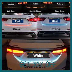 Ice Blue Red Yellow White LED Strip Lighting Rear Trunk Tail Light Dynamic Streamer Brake Turn Signal Reverse Leds Warning Light