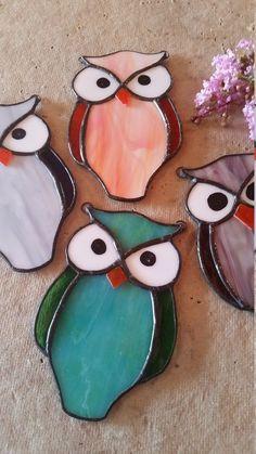 Stained glass owl. orange blue grey wine. Suncatcher. Gift. #StainedGlassOwl