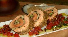 Crusted salmon roullade with shiitake mushrooms