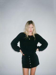 black jumper button down suede skirt