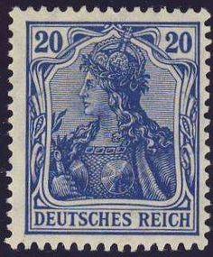 Germany, German Empire, German Reich 1915 / 19, Germania, war issue, 20 Pfg. dark violet blue, mint never hinged superb, expertized Jäschke BPP (postfr., Michel-no. 87 IIa / Michel EUR 55,). Price Estimate (8/2016): 10 EUR. Unsold.