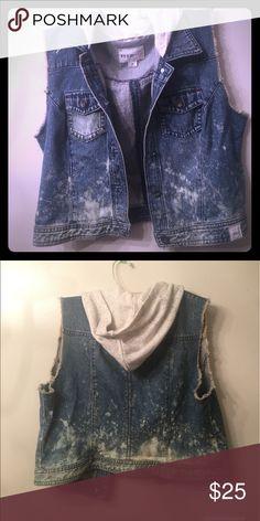 Hand Bleach Denim Vest w/ Hood NEVER WORN. Hand bleached denim w/ cream colored cotton hood. Jackets & Coats Vests