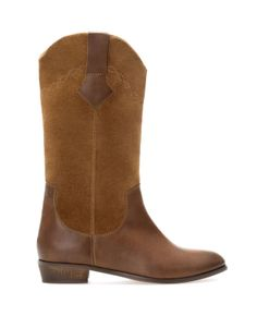 :COMBINED LEATHER BOOTS