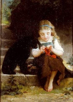 A Careful Stitch by Emile Munier (1840-1895)
