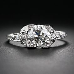 1.46 Carat 1920s Platinum and Diamond Ring - 10-1-5749 - Lang Antiques