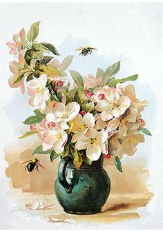 Apple Blossoms by Paul de Longpre (Vintage Art Print) #Vintage