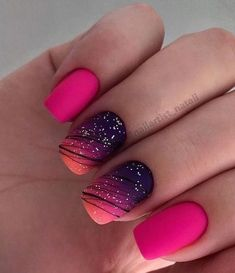 Fabulous nail art design with pink and black colors