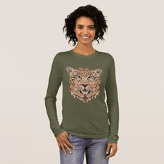 Leopard Print Long Sleeve Top - animal gift ideas animals and pets diy customize