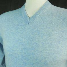 Toscano ITALY Mens XL Light Blue Merino Wool V Neck Pullover Sweater Jumper NICE #Toscano #VNeck