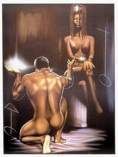 Black love, a slave to his Queen Art Of Love, Black Love Art, Black Is Beautiful, Simply Beautiful, African American Art, African Art, African History, Caricatures, Caricature Art