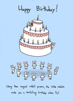 Happy Birthday Rabbit Cake Card. $3.50, via Etsy.
