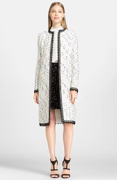 Oscar de la Renta Dotted Tweed Coat available at #Nordstrom