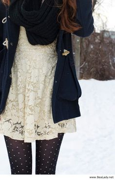 Lace top, navy jacket and polka dot tights. i especially love the shirt with the tights