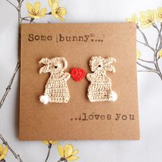 Easter Crochet, Crochet Bunny, Crafty Projects, Crochet Projects, Simple Birthday Cards, Fabric Cards, Yarn Shop, Crochet Gifts, Valentine Crafts
