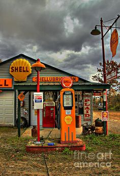 Shell Greeting Card featuring the photograph Shellubrication by Brenda Giasson Old Gas Pumps, Vintage Gas Pumps, Shell Station, Filling Station, Old Garage, Garage Art, Films Western, Pompe A Essence, Old Gas Stations