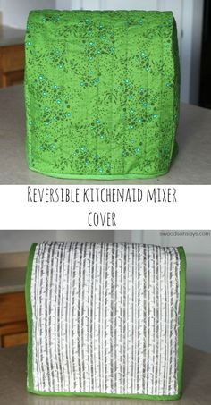 I used a free reversible Kitchenaid mixer cover sewing pattern, and added handmade bias binding! http://Swoodsonsays.com