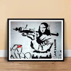 "Banksy ""Mona Lisa with Rocket Launcher"" Handmade Giclée Gallery Graffiti Print Poster Banksy Graffiti, Banksy Work, Street Graffiti, Street Art, Stencilling Techniques, Mona Lisa, Kunst Poster, Poster Prints, Art Posters"