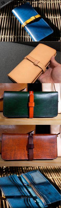 Handmade Genuine leather bifold clutch purse long wallet purse