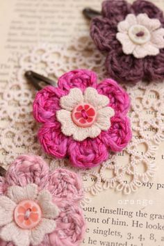 crochet flower hair pins