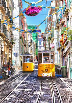 The Bica Funicular, Lisbon, Portugal.