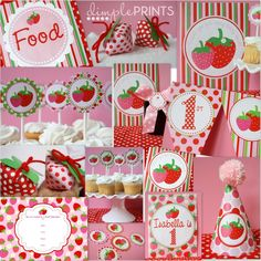 Strawberry Birthday Party...whole collection only $10.00, via Dimple Prints on Etsy.