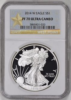 The Silver Eagle Proof contains a minimum of 1 oz. The 1 oz. Silver Eagle Proof coin is part of an annual series released by the United States Mint. Silver Coins For Sale, Silver Eagle Coins, Silver Eagles, Bullion Coins, Silver Bullion, Dollar Money, World Coins, Half Dollar, Knives