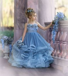(B) The item does not include any accessories such as gloves, wedding veil and the crinoline petticoat ( show on the pictures). White Princess Dress, Princess Flower Girl Dresses, White Flower Girl Dresses, Lovely Dresses, Princess Style, Flower Girls, Girls Pageant Dresses, Gowns For Girls, Dresses Kids Girl
