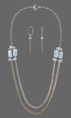 Jewelry Design - Multi-Strand Necklace and Earring Set with Blue Chalcedony and Metal Link, Swarovski® Crystals and Chain - Fire Mountain Gems and Beads