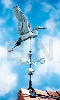 Whitehall Celebrate coastal wildlife atop your home or barn using the Whitehall Copper Heron Weathervane. A heron, seemingly captured in midflight, creates the remarkable topper on this impressive van