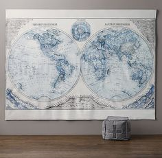 oversized dual-hemisphere map. a grand backdrop for expanding young minds. #rhbabyandchild