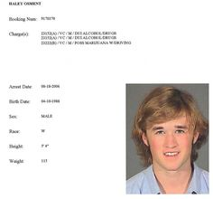 HALEY JOEL OSMENT Celebrity Mug Shots: The Usual & Unusual Suspects | Celebrity and Entertainment News | PressRoomVIP - Part 25