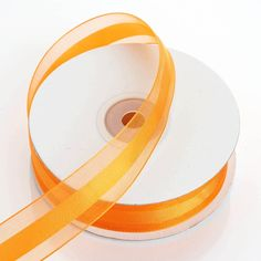 "25 Yards | 7/8"" DIY Coral Orange Organza Ribbon Satin Center - Clearance SALE"