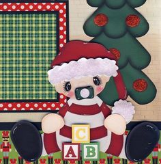 BABY'S 1ST CHRISTMAS 2 PREMADE SCRAPBOOK PAGES paper piecing layout ~ BY CHERRY