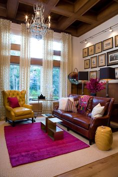 Living room - chandelier, leather couches, mustard yellow and fuschia (O Interior Design) Yeah, I'm kind of in love with this whole room right now.