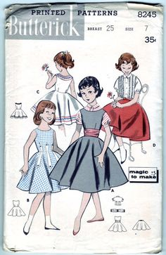 FREE SHIPPING Vintage 1957 Butterick 8245 by SewUniqueClassique, $12.00