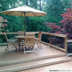 Multilevel deck designs are ideal for multiple clusters of activity: dining, mingling, relaxing.