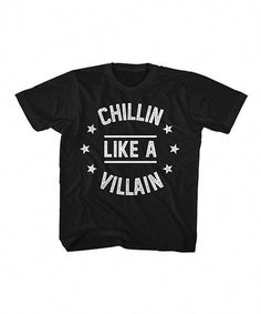 Look at this American Classics Black Chillin Like a Villain Tee - Toddler Boys on today! Toddler Boy Fashion, Toddler Boy Outfits, Cute Outfits For Kids, Toddler Boys, Kids Fashion, Fashion Clothes, Girl Clothing, Little Man Style, Guy Style