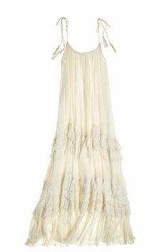 Frill Cotton Gauze Ruffled Dress
