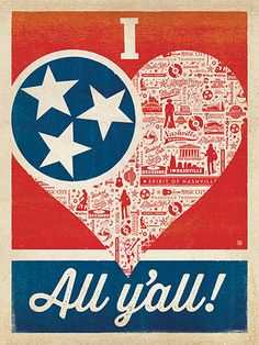 """I Love All Y'all: TN Flag Heart - Nothing says """"I Love All Y'all"""" like our state flag, a heart and the Spirit of Nashville pattern! Decorate with this happy print and let everyone know how you REALLY feel!"""