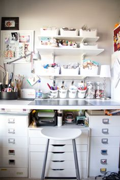 Craft organization, hanging buckets, storage