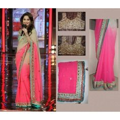 Madhuri Dixit Dual Shade Saree with un-stitched blouse & free shipping offer.