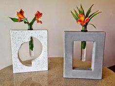 Concrete bases with test tube vase inserts. We make these in house and we can ship them! Customize with your own design. Cement Art, Concrete Crafts, Concrete Projects, Concrete Planters, Diy Projects, Concrete Cement, Poured Concrete, Concrete Furniture, Flower Vases