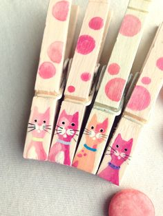 CAT CLOTHESPINS pink polka dots hand painted magnets by SugarAndPaint on Etsy