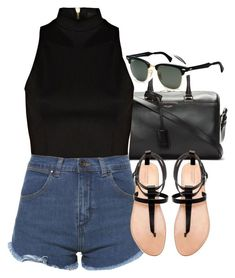 """Untitled #1636"" by hiitsbre ❤ liked on Polyvore featuring Yves Saint Laurent, River Island, Zara and Ray-Ban"