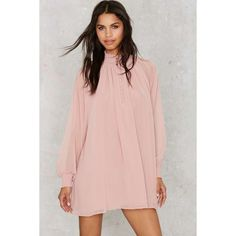 Nasty Gal Winnie Bell Sleeve Dress ($59) ❤ liked on Polyvore featuring dresses, pink, chiffon dresses, button down dress, nasty gal, bell sleeve dress and flared sleeve dress